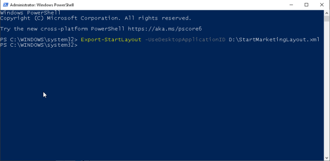 exportera startlayout genom powershell i Windows 1809