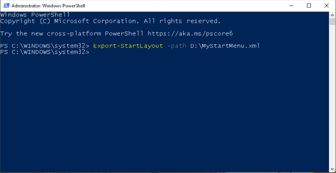 exportera startlayout genom powershell i Windows 1803